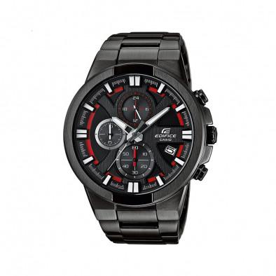 Мъжки часовник Casio Edifice черен браслет с червени детайли в циферблата
