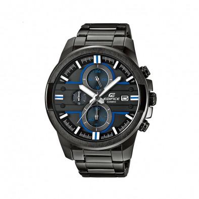 Мъжки часовник Casio Edifice черен браслет със сини детайли