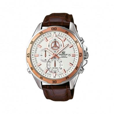 Мъжки часовник Casio Edifice кафява каишка от естествена кожа и златист ринг