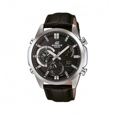 Мъжки часовник Casio Edifice сребристо-черен с черна каишка от естествена кожа