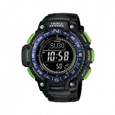Мъжки часовник Casio Outdoor черен със зелени бутони