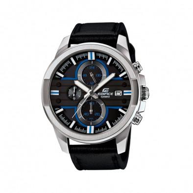 Мъжки часовник Casio Edifice със сребриста каса и черна каишка