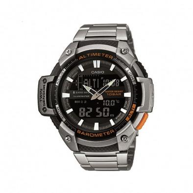 Мъжки часовник Casio Outdoor сребрист браслет с оранжев бутон