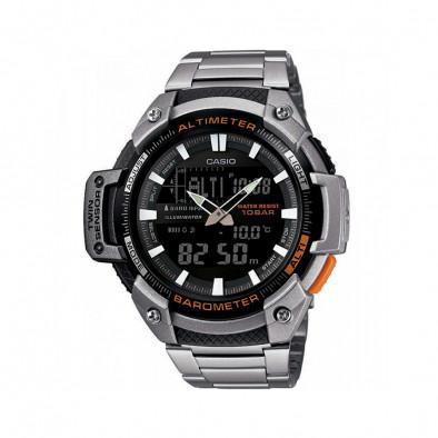 Мъжки часовник Casio Outdoor сребрист браслет с черен циферблат