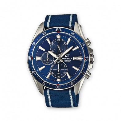 Мъжки часовник Casio Edifice син с текстилна каишка