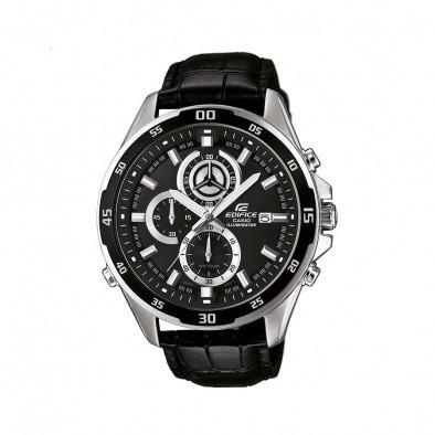Мъжки часовник Casio Edifice с черна каишка от естествена кожа