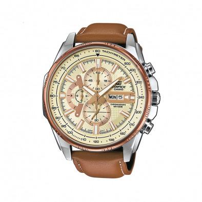 Мъжки часовник Casio Edifice с бежова каишка от естествена кожа