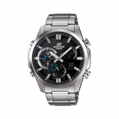 Мъжки часовник Casio Edifice сребрист браслет с малки сини детайли