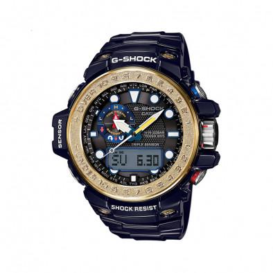 Мъжки спортен часовник Casio G-SHOCK син със златист ринг на дисплея