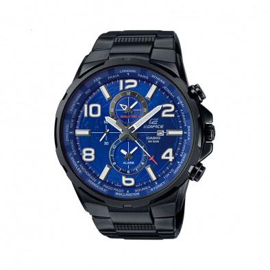 Мъжки часовник Casio Edifice черен браслет със син циферблат