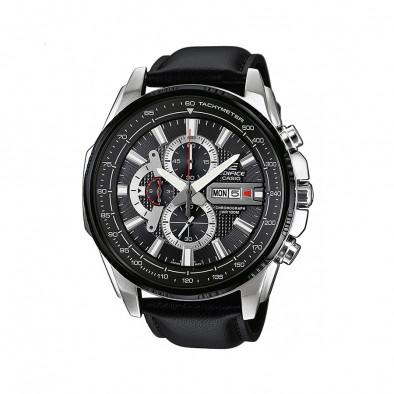 Мъжки часовник Casio Edifice черен с черна каишка от естествена кожа