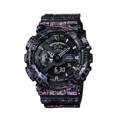 Мъжки спортен часовник Casio G-SHOCK черен с розово-лилав ефект на мрамор