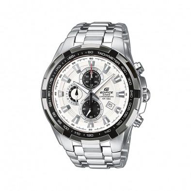 Мъжки часовник Casio Edifice сребрист браслет с черен ринг на циферблата