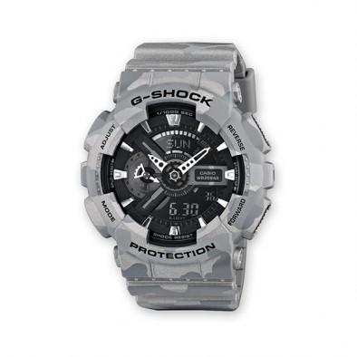 Мъжки спортен часовник Casio G-SHOCK сив камуфлаж с черен циферблат