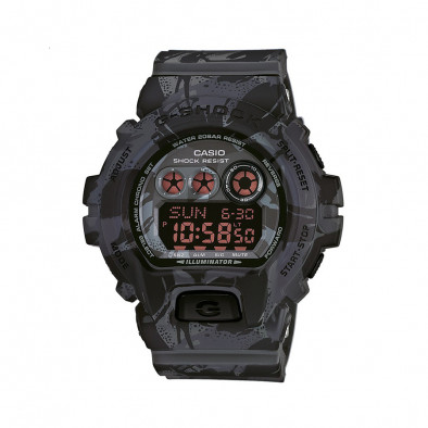Мъжки спортен часовник Casio G-SHOCK черно-сив камуфлаж