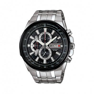 Мъжки часовник Casio Edifice сребрист браслет с черно-сив циферблат
