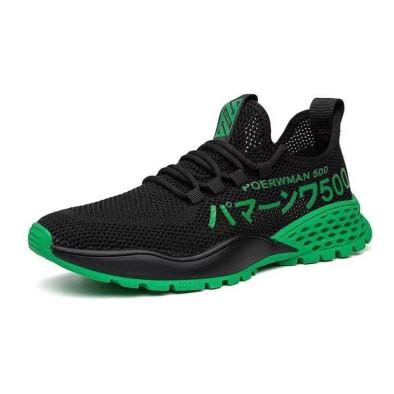 Мъжки леки черни маратонки зелен акцент gr020221-2 3