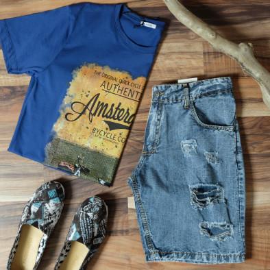 Фина мъжка тениска в синьо Amserdam it010720-24 4