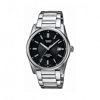 Мъжки часовник Casio Beside с  черен циферблат и сребристи индекси