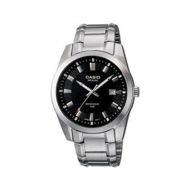 Мъжки часовник Casio Beside сребрист браслет с черен циферблат