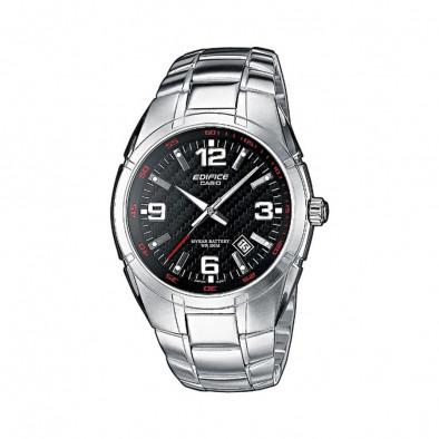 Мъжки часовник Casio Edifice сребрист браслет с циферблат в черно
