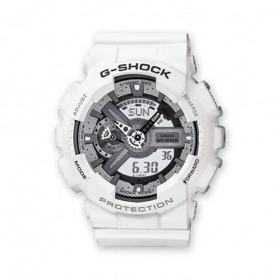 Мъжки спортен часовник Casio G-SHOCK бял със сиво-бял дисплей