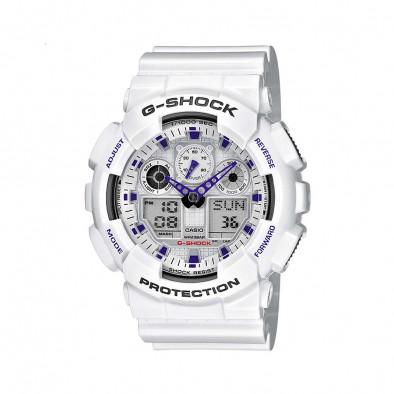 Мъжки спортен часовник Casio G-SHOCK бял с лилави детайли