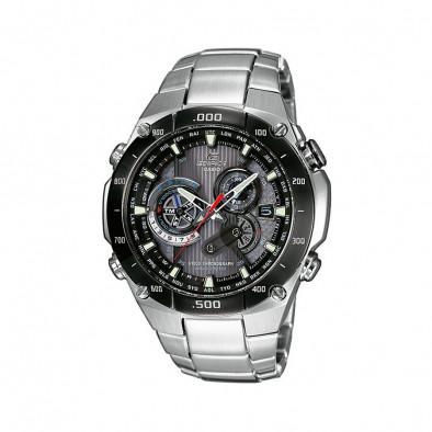 Мъжки часовник Casio Edifice сребрист браслет със соларна батерия