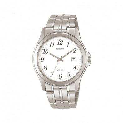 Мъжки часовник Citizen сребрист браслет с бял циферблат