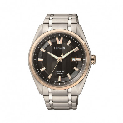 Мъжки часовник Citizen титаниев браслет с черен циферблат