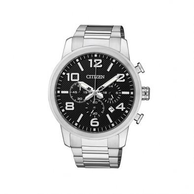 Мъжки часовник Citizen сребрист браслет с черен циферблат