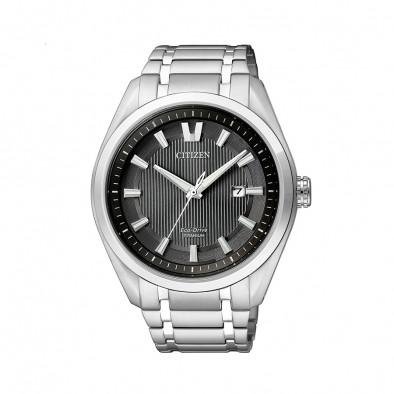 Мъжки часовник Citizen сребрист браслет титаниев
