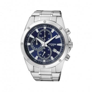Мъжки часовник Citizen сребрист със син циферблат