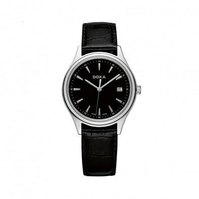 Мъжки часовник DOXA Tradition с черна каишка и черен циферблат