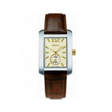 Мъжки часовник DOXA Square с кафява каишка от естествена кожа
