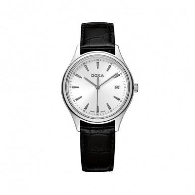 Мъжки часовник DOXA Tradition с черна каишка от естествена кожа