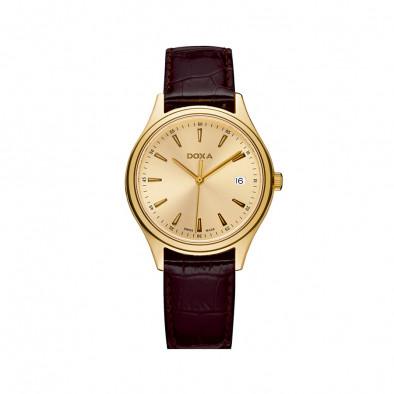 Мъжки часовник DOXA Tradition с жълта позлата и кафява каишка