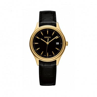 Мъжки часовник DOXA Tradition черен с жълта позлата на касата