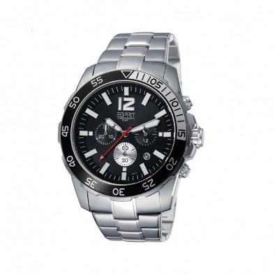 Мъжки часовник Esprit сребрист браслет с червена стрелка за секундите