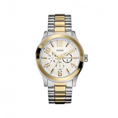 Мъжки часовник Guess браслет в сребристо и златисто