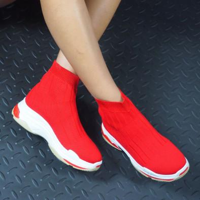 Дамски плетени Slip-on маратонки в червено it130819-46 3