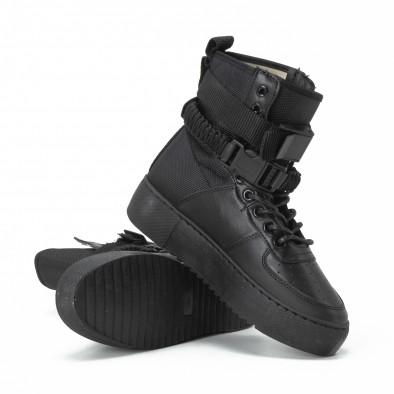 Високи дамски кецове All black с аксесоар it150818-62 3