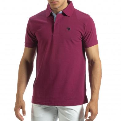 Мъжки червен polo shirt със синьо столче it120619-30 2