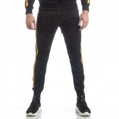 Черно мъжко Biker долнище жълт кант it040219-67 3