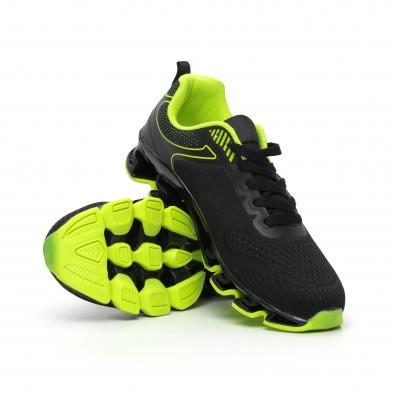 Мъжки маратонки черно и неон с релефна подметка it110919-7 4
