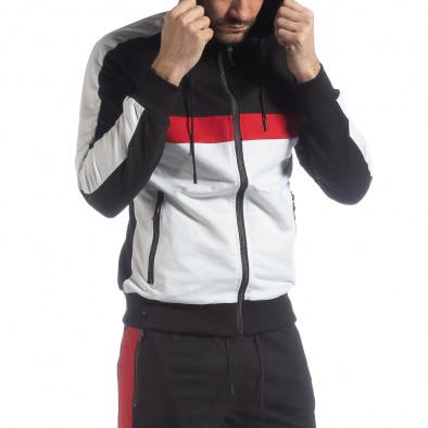 Черен мъжки суичър с ленти it040219-110 2