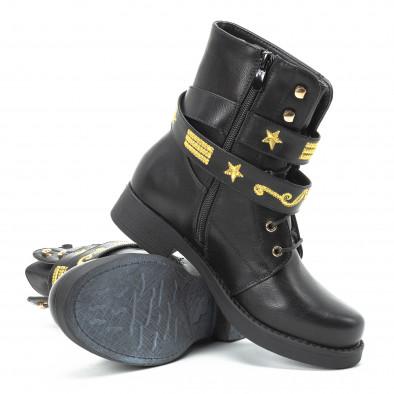 Черни дамски боти с връзки и златиста бродерия it140918-37 4
