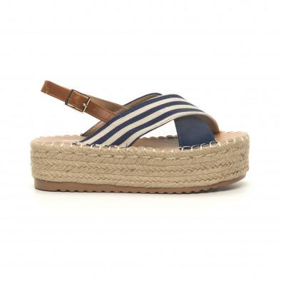 Дамски сини сандали тип еспадрили it050619-88 2