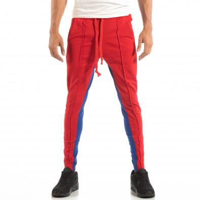 Мъжки Jogger в червено и синьо с кантове и ципове it240818-102 3