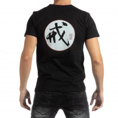Мъжка черна тениска с източен мотив it261018-119 3